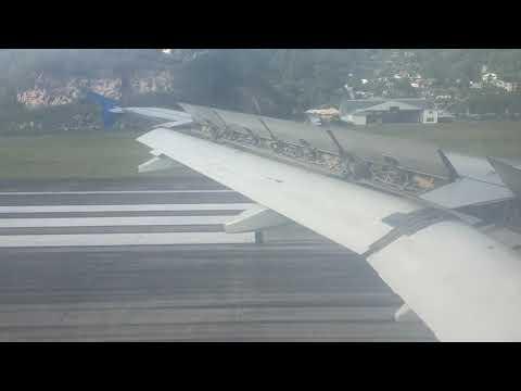 Landing at Mahe island airport in Seychelles