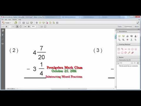 10242016 Math Class   Subtracting Mixed Fractions