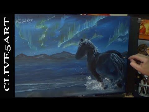 Aurora Borealis Landscape beginners acrylic painting clive5art #spaceweek