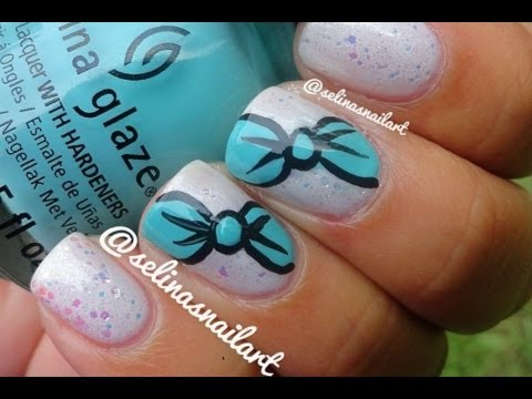 Mint Bows Nail Art Tutorial - YouTube