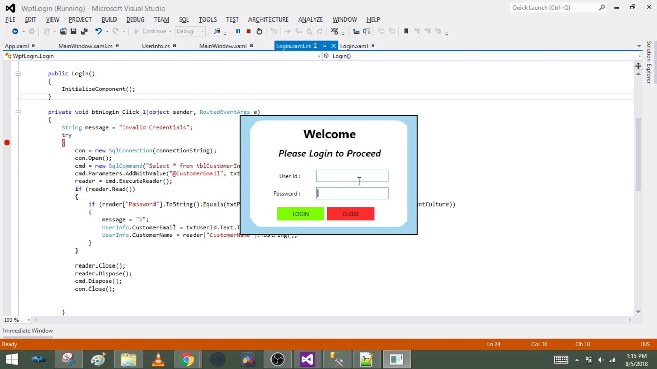 WPF Create Login Form with SQL Database • ParallelCodes
