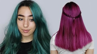 GREEN TO DARK PINK Hair Transformation | NO BLEACH | Ft. Crazy Colour