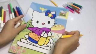 bé tập tô màu mèo hello kitty  - tranh tô màu con vật - chị gấu béo
