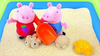 Видео для детей. Мультик с игрушками, как Свинка Пеппа и Джордж играют на улице