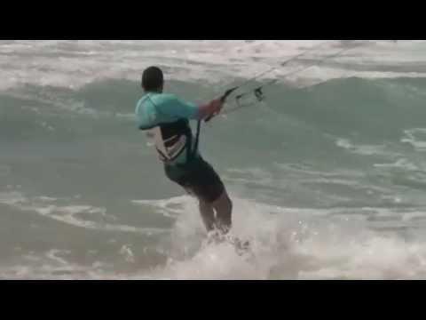 Windsurfing during a storm in the Mediterranean Sea. Bat Yam Beach. Israel