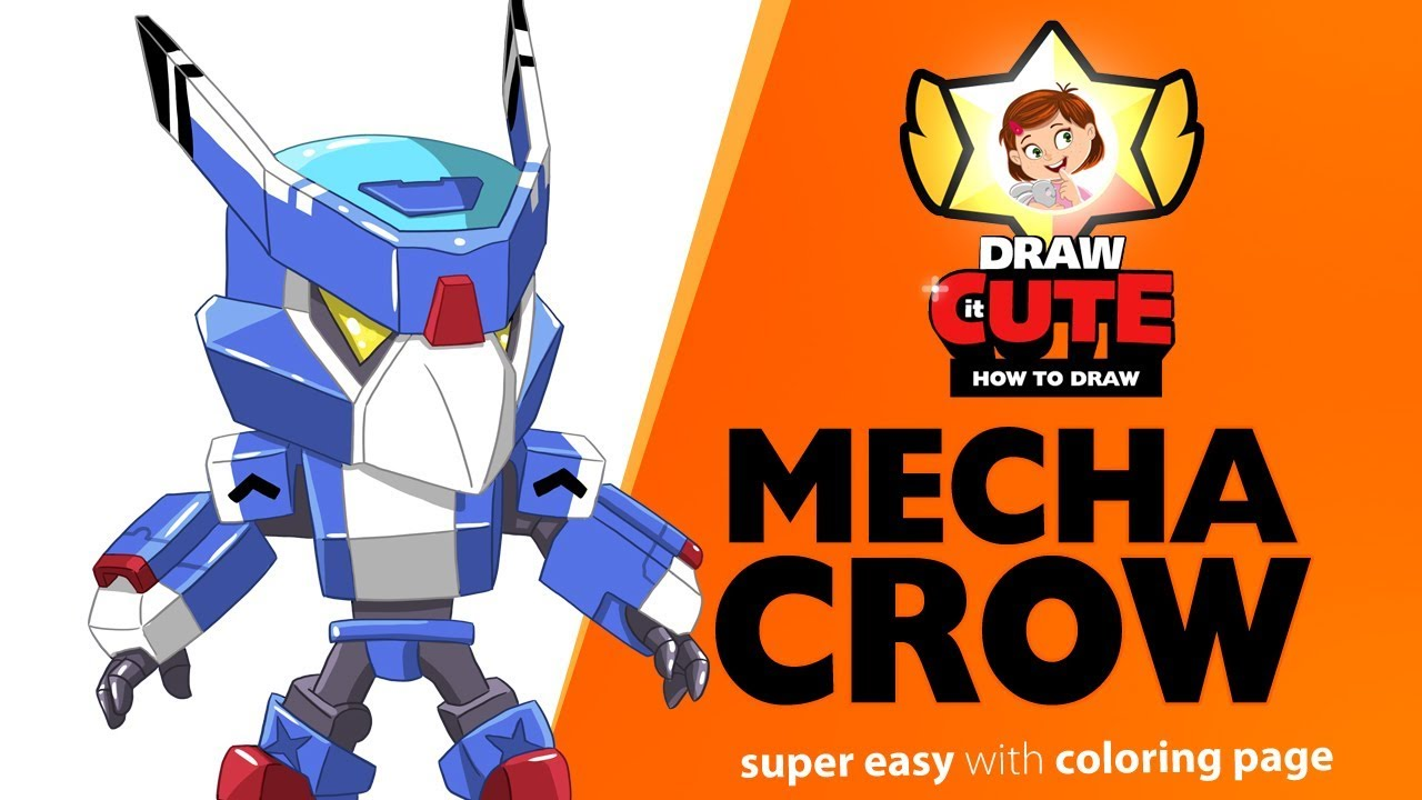 How To Draw Mecha Crow Brawl Stars Super Easy Drawing Tutorial With Coloring Page