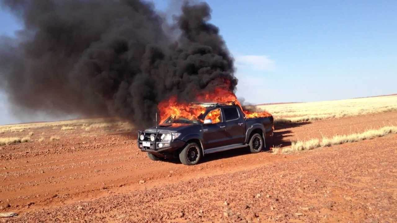 Toyota Hilux 4x4 Fire Cordillo Downs Track Just East Of