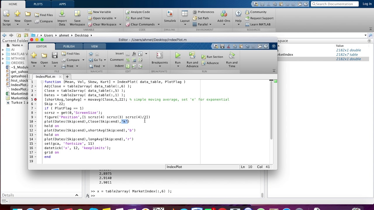 Matlab Introduction 12 Plot Yahoo Finance Data - YouTube