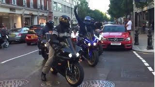 Superbike MADNESS in the city of London !! - BURNOUTS, REVS & LOUD SOUNDS!