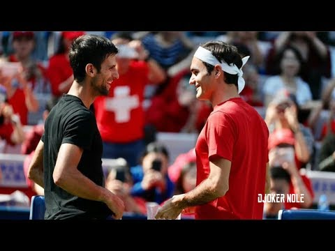 Novak Djokovic Meets Roger Federer on Practice - Shanghai 2018 (HD)