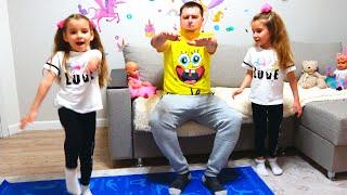 Папа и девочки играют - веселая история про правильное питание