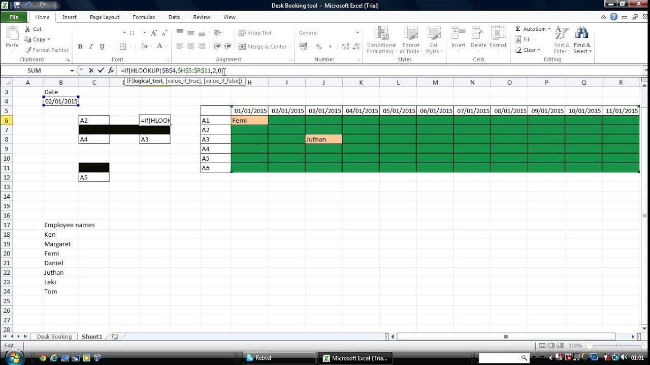 excel desk booking tool