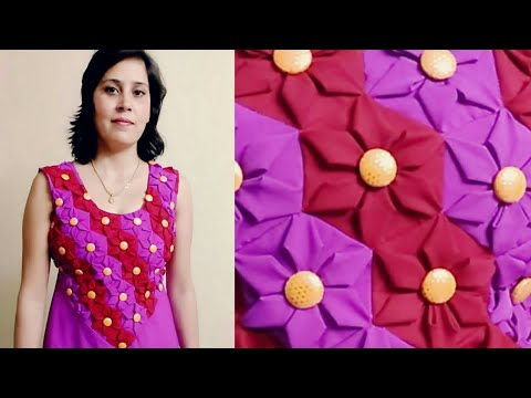 HoW to make Latest ORIGAMI Floral Ladies Frock