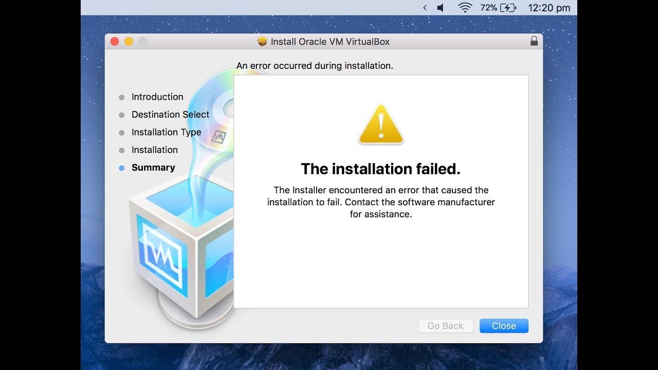 unable to install virtualbox on mac high sierra