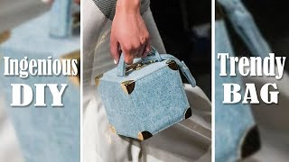 INTERESTING DESIGN DIY PURSE // Cube Square Woman Bag From Old Jeans Fresh Trendy Idea Handmade