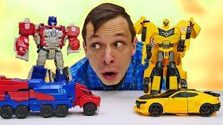 Бамблби и Оптимус в видео онлайн - Автоботы vs Тоботы! - Роботы Трансформеры игры гонки  онлайн