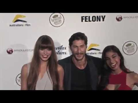 Chloe Hurst and Ryan Porter and Sarah Roberts arriving to the Felony Premiere Red Carpet 2