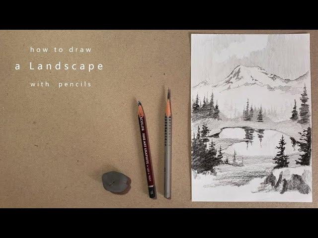 как нарисовать пейзаж how to draw a landscape