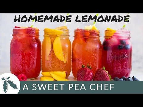 Homemade Lemonade + 4 Easy Lemonade Recipes |  A Sweet Pea Chef