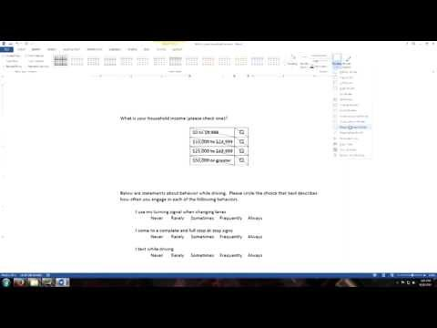 Using Tables in Microsoft Word for Questionnaire Construction