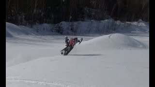 Long track rc snowmobile polaris rush (RMK)extreme test.Jumping.