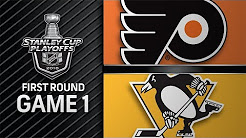 Crosby notches hat trick, Pens rout Flyers in Game 1
