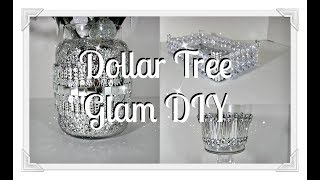 NEW|| 3 Glam Dollar Tree DIY's||Tray Vase and Candle Stand