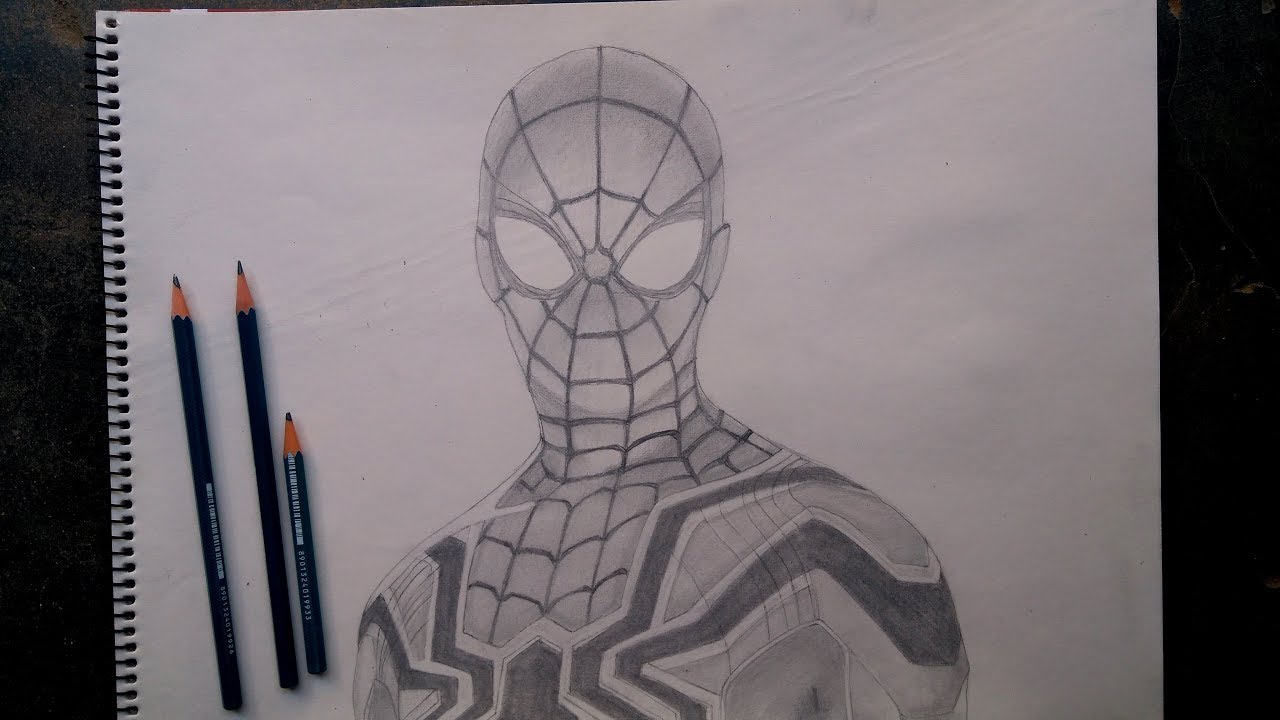 Spider man far from home realistic pencil sketch art school