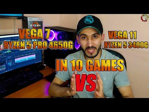 RYZEN 5 PRO 4650G RX VEGA 7 VS RYZEN 5 3400G RX VEGA 11🤔مقارنة IN 10 GAMES 1080P