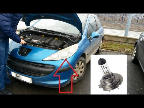 Change the headlight bulb to a Peugeot 207 - YouTube