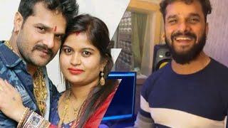 #Khesari Lal Yadav ने अपनी Wife Chanda के लिए अपने Manager Vivek Singh के साथ anniversary Cake काटा