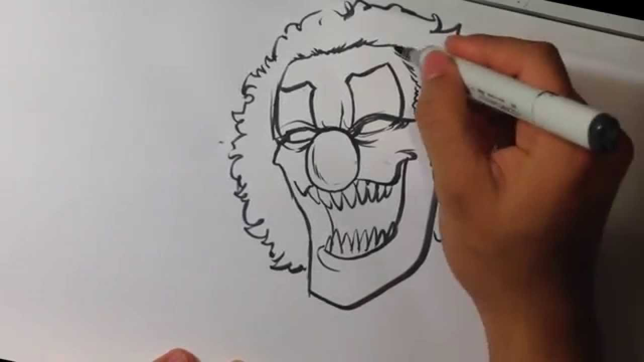 Drawing a Scary Clown - Halloween Drawings - YouTube