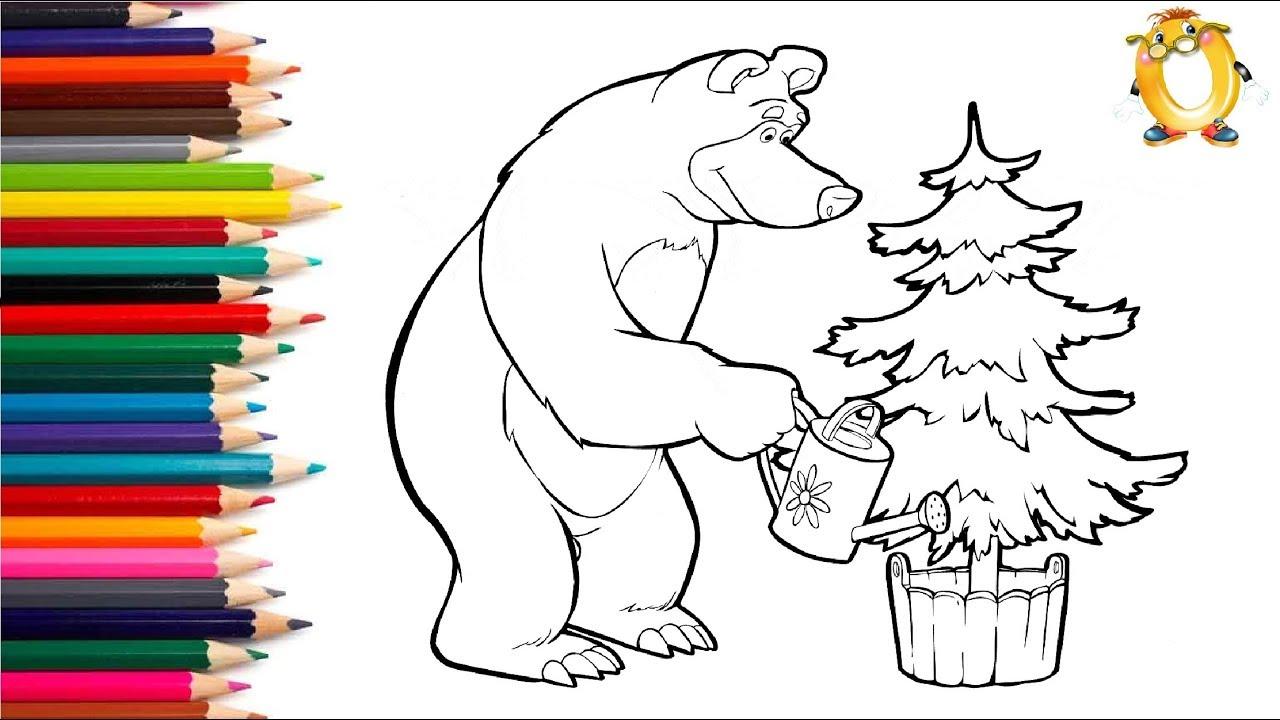 Раскраска для детей ГЕРОИ МУЛЬТИКА Маша и медведь. Учим ...