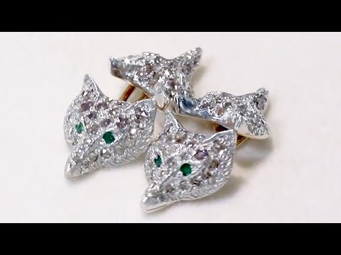 0.58 ct Diamond and Emerald, Silver 'Fox Head' Cufflinks - Contemporary Circa 2000 - A8267