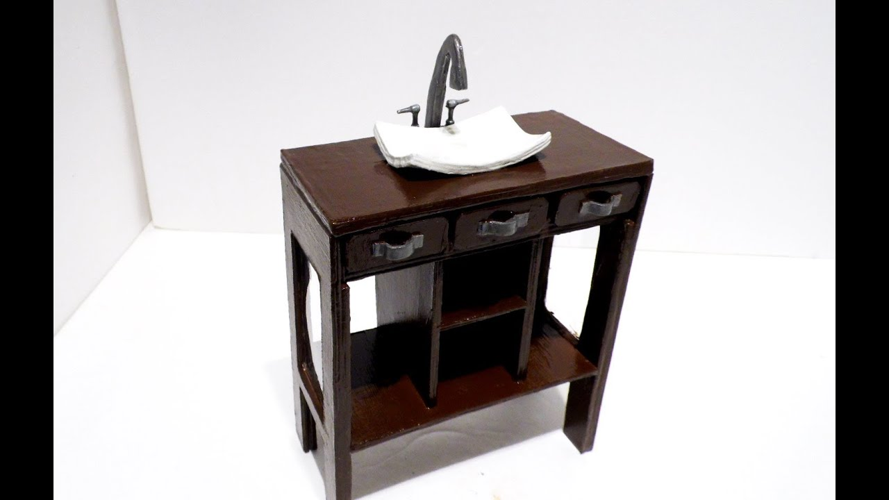 Youtube Modern Bathroom Vanity how to make: a doll bathroom vanity - youtube