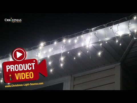 Pure White Twinkle Icicle Lights on White Wire