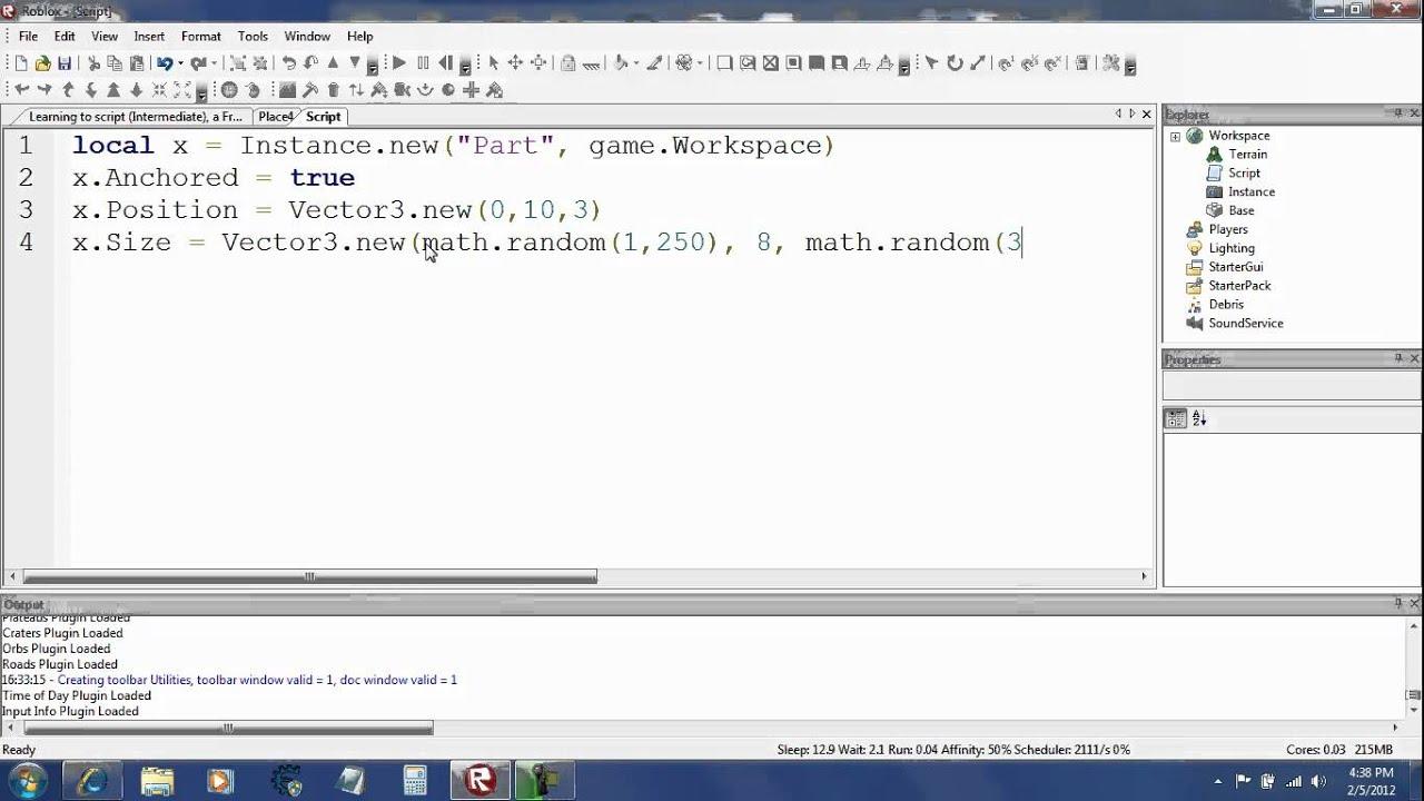 Roblox Scripting Tutorial Part 8 Math Random Vector3 New