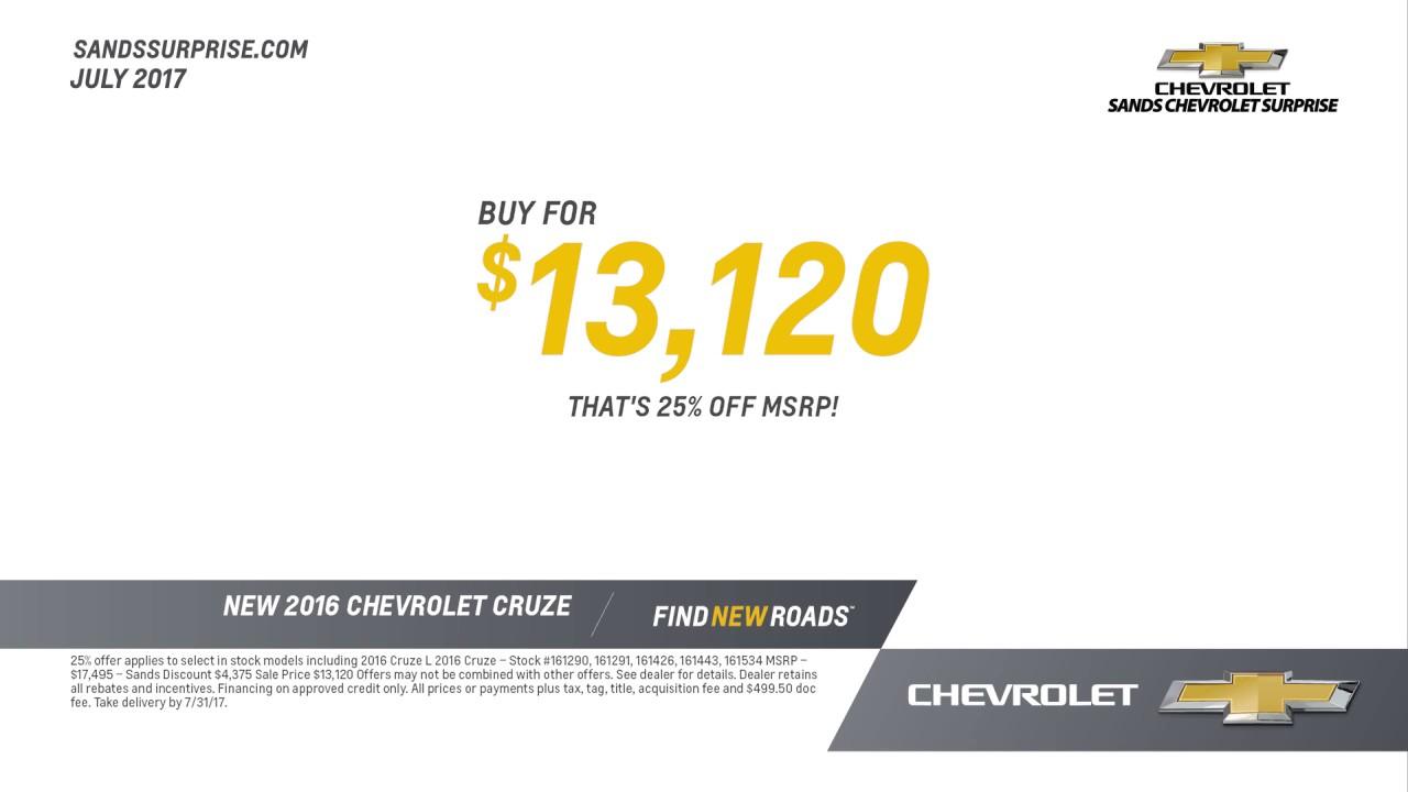 Sands Chevrolet Surprise July Offers Sps
