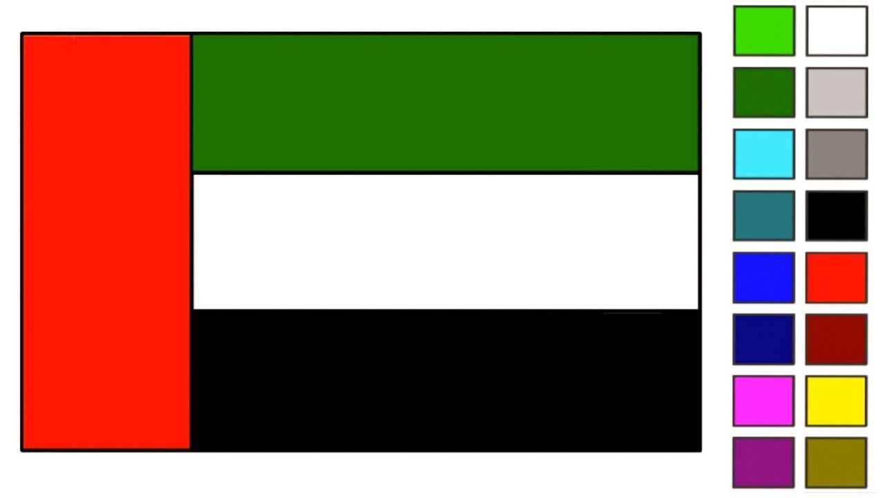 United Arab Emirates Uae Flag Drawing Step By Step Beautiful