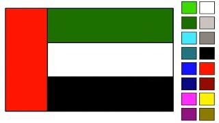 United Arab Emirates (UAE) Flag Drawing Step by Step Beautiful Country Dubai Arab Emirate Flag Color
