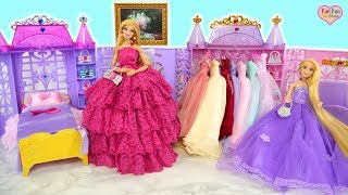 Princess doll Room Barbie Rapunzel Morning Dress up Kamar tidur boneka Barbie Vestido de princesa