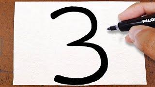 COMO Transformar o Número 3 em um DESENHO Lindo e fácil, IDEIA E TRUQUE PARA FAZER NA ESCOLA
