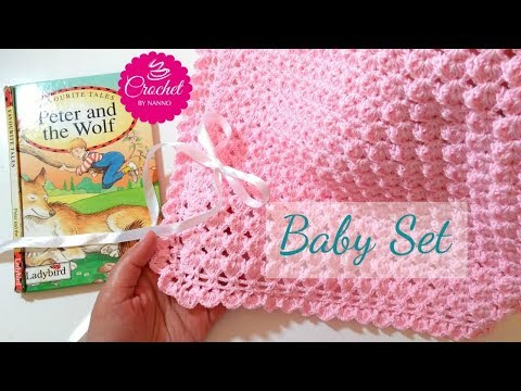 HOW TO CROCHET A BABY BLANKET #1 FAST & EASY BABY SET |☕THE CROCHET SHOP