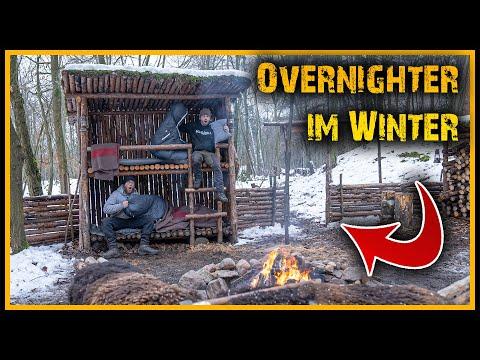48h Winterbiwak im Waldcamp - Übernachten im Winterwald - Overnighter Bushcraft Survival
