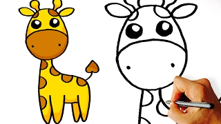 Very Easy! How to Draw Cute Cartoon Giraffe. Art for Kids!