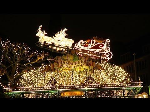 The Driving Vlog - Hamburg's Christmas Market (Weihnachtsmarkt & flying Santa) ,holidays atmosphere.