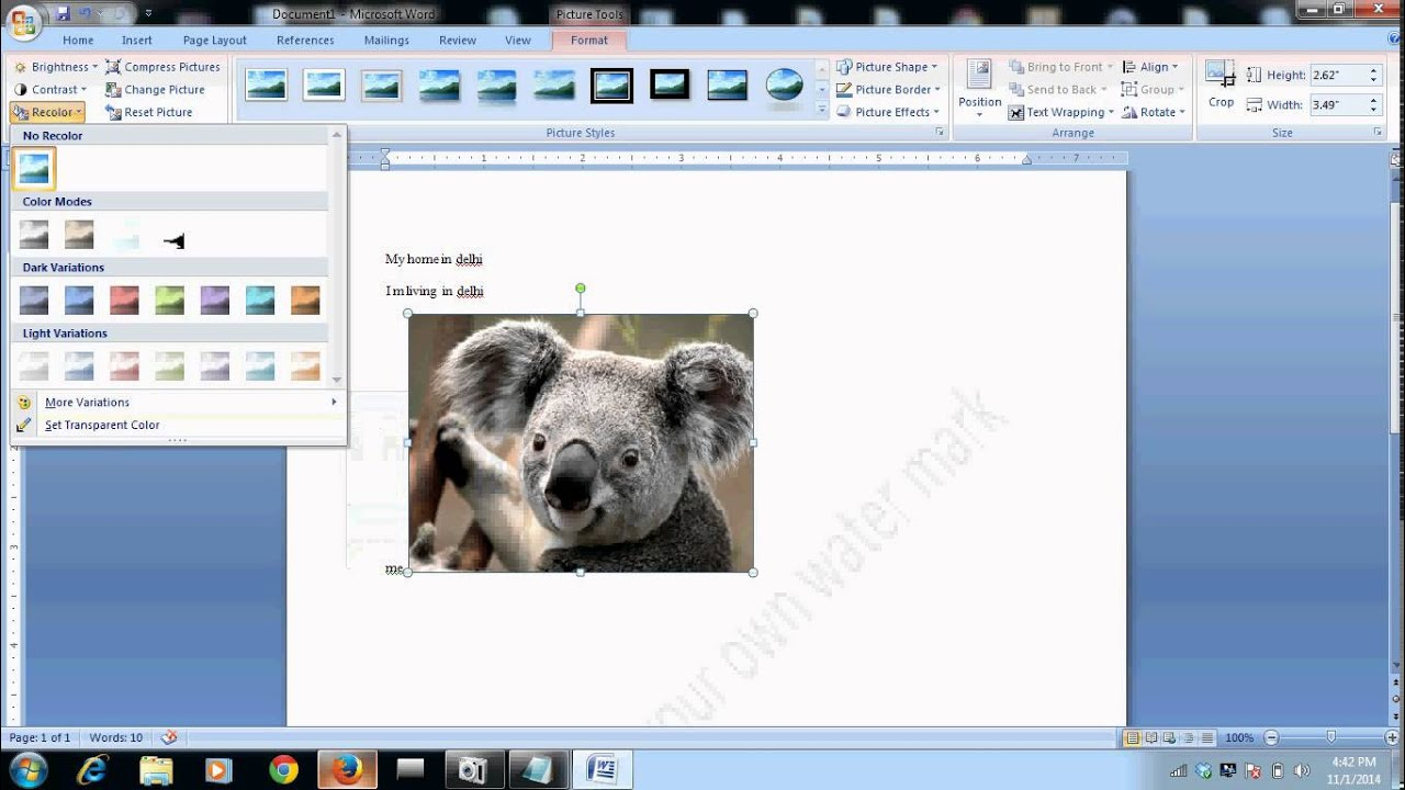 How to fade picture into background on word 2007?