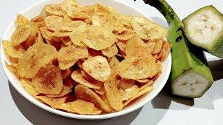 How to Make Crispy Banana Chips   Raw Banana Chips at Home   Banana Wafers   Home made Chips Recipe