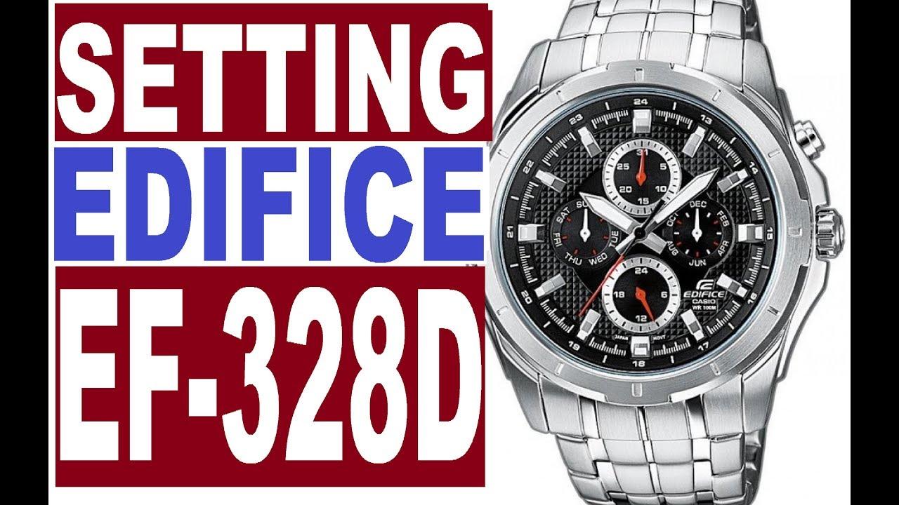 Setting Casio Edifice EF-328D manual 3745 for use - YouTube 980fb73e5