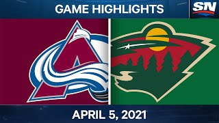 NHL Game Highlights | Avalanche vs. Wild - Apr. 5, 2021